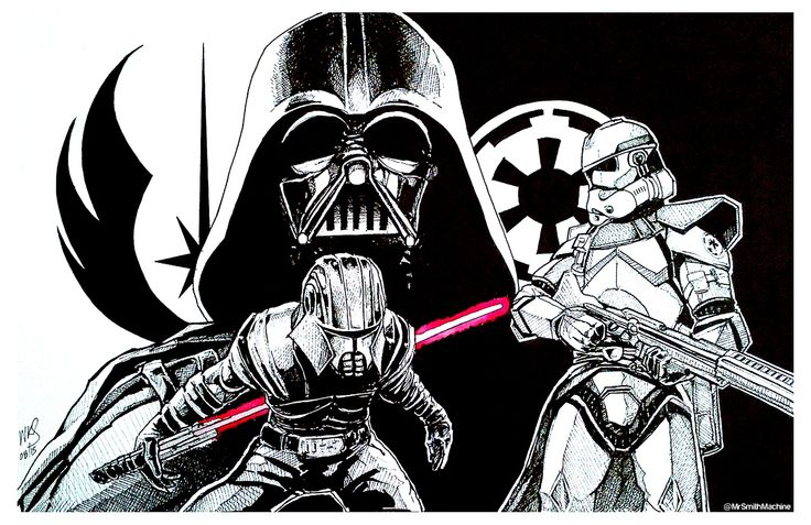 Star Wars - pen and ink on Fabriano board (300mmx500mm)