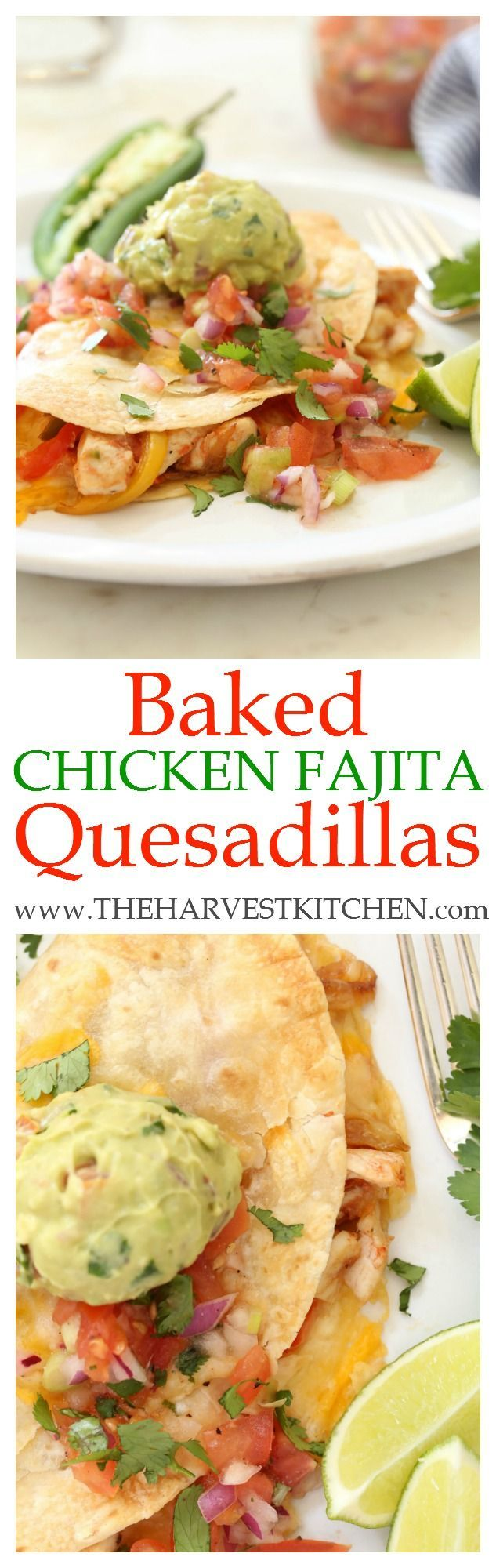 These crispy Baked Chicken Fajita Quesadillas are stuffed with savory Mexican flavors - tender bites of chicken cooked with garlic, jalapeño and tomato, some lightly browned onion, bell peppers and a blend of cheeses.  So easy to make - just pop a cookie sheet full in the oven rather than standing over a hot stove making them one at a time!