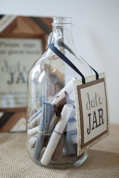 """15 Creative And Unique Guest Book Alternatives: Super cute, instead of boring well wishes people are asked to right """"date ideas"""" on the slips of paper."""
