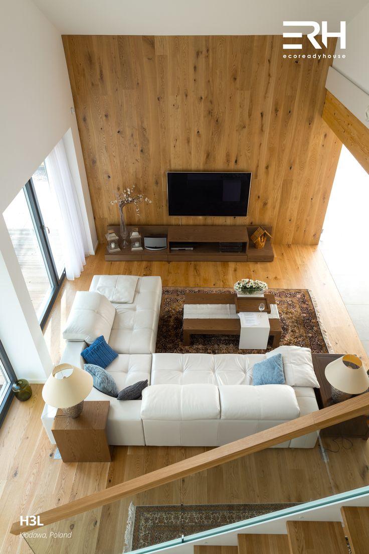 House H3L in Kłodawa, Poland #architecture #design #modernarchitecture #dreamhome #home #house #modernhome #modernhouse #moderndesign #homedesign #homesweethome #scandinavian #scandinaviandesign #lifestyle #livingroom #stylish #bigwindows #interior #interiors #homeinterior #pastel #sofa #couch #stairs #woods #comfortzone #cozy #tv #white #decor #openspace #ecoreadyhouse #erh