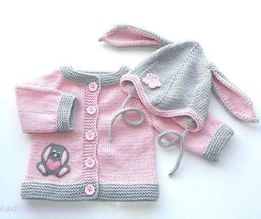 Pink baby girl sweater with la |