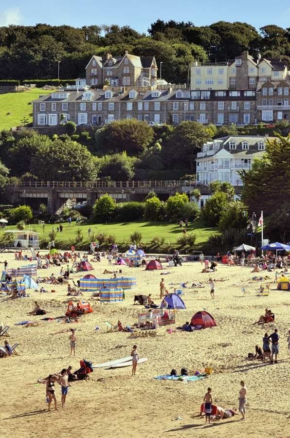 View of Porthminster beach in St Ives,Cornwall