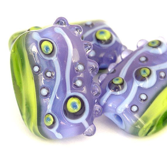 harmony purple and lime green handmade lampwork bead set by sarah hornik