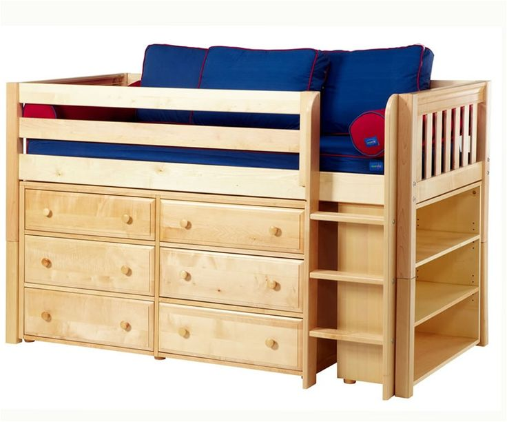 Best Maxtrix Low Loft Bed W Dresser Bookcase Bed Frames 400 x 300