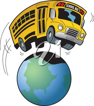 iCLIPART - Cartoon Clip Art Illustration of a School Bus Going on a Field Trip to Anywhere in the World #clipart #illustration #education