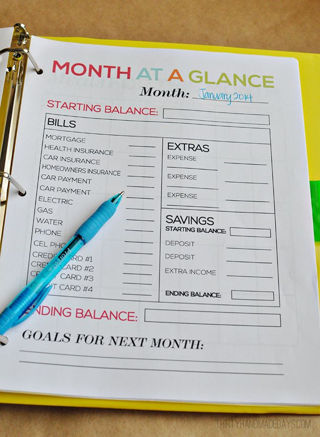 Month at a Glance- part of the ultimate Budget Binder