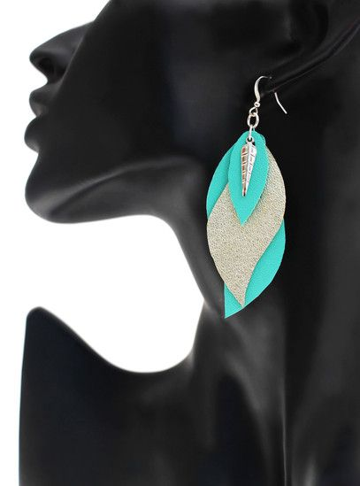 "boucles d'oreilles cuir - leather earrings - boucles d'oreille ""gaïa"" - boucles d'oreilles mint champagne - bijoux en cuir - Made by S▲R▲Y▲N▲- 20€ www.sarayana.fr"