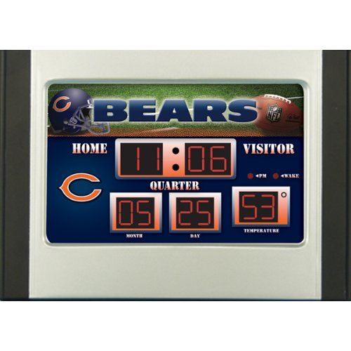 NFL Scoreboard Desk & Alarm Clocks  http://allstarsportsfan.com/product/nfl-scoreboard-desk-alarm-clocks/?attribute_pa_color=chicago-bears  Always know the time and temperature with our licensed scoreboard desk clock featuring your favorite team Our team scoreboard desk clock shows the time, date, temperature, and features four alarm settings Made of plastic, glass, and circuitry
