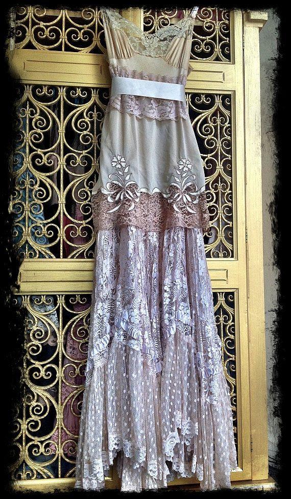 vestido de encaje marfil & crema crudo boho por mermaidmisskristin