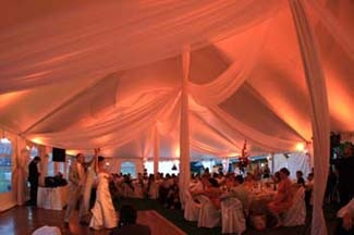 Wedding tent interior with swags
