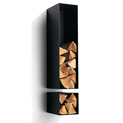 Habitat Exclamation Mark Satin Black Wall Mounted Log Store - 1310mm