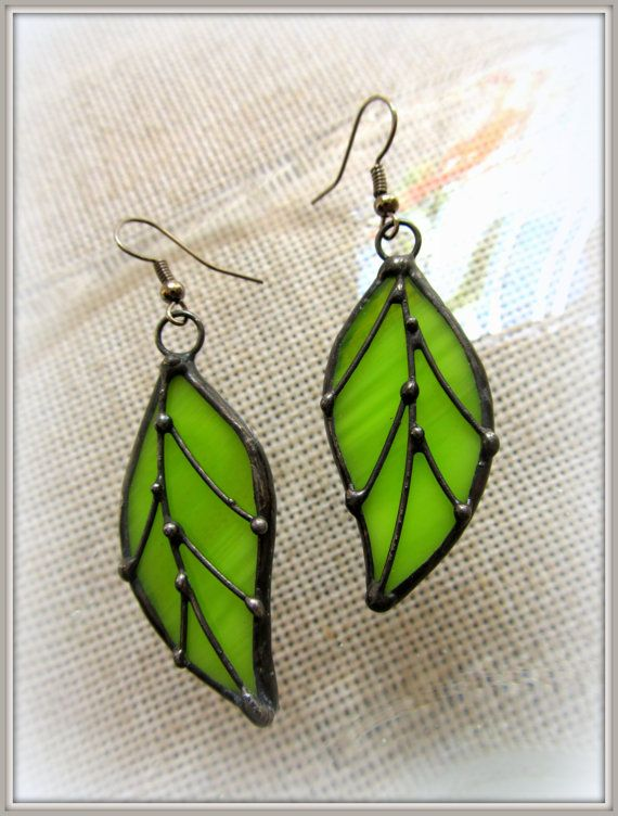 Stained glass earrings Leaf. Gift on the day of St. by TMArtGlass