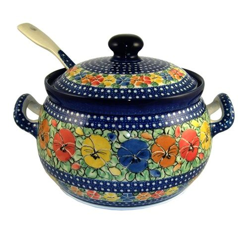 Polish Art Center - Unikat Polish Pottery Stoneware Soup Tureen With Ladle