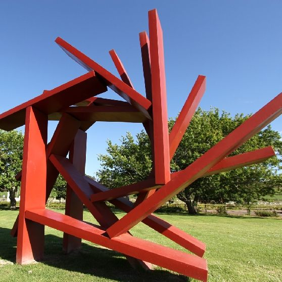 Artist: Richard Forbes  Entitled: Vortex 2013  Made of: painted steel  Location: lawns by the Wine Collection point  - See more at: http://www.spier.co.za/blog/article/new-art-installations-at-spier#sthash.gJtPzF9C.dpuf
