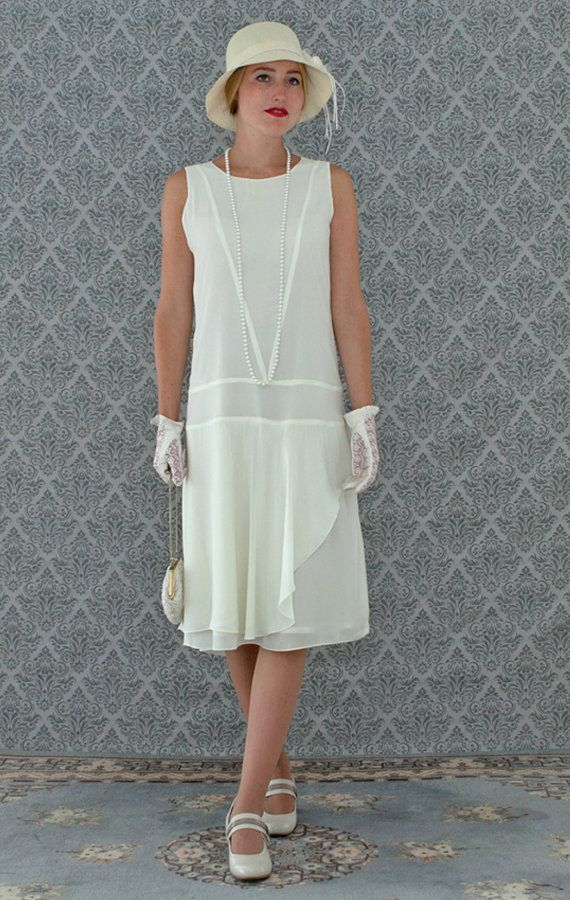 Cream Chiffon Flapper Dress with a Ruffled Skirt detail, Cream Great Gatsby Dress, 1920s flapper dress, high tea dress, 1920s wedding gown