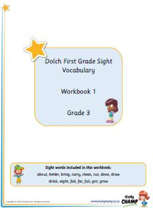 Grade 3 Dolch workbooks 1 to 3 - learn to recognise and use sight words