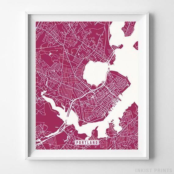 Portland Maine Map Print Street Poster City Road Etsy Map Wall Art Map Print Poster Wall Art