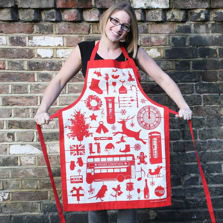 Contemporary Red Christmas Apron