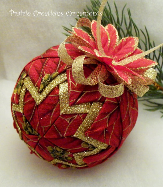 Quilted Ornament Gold and Red Poinsettia by MyPrairieCreations, $20.00