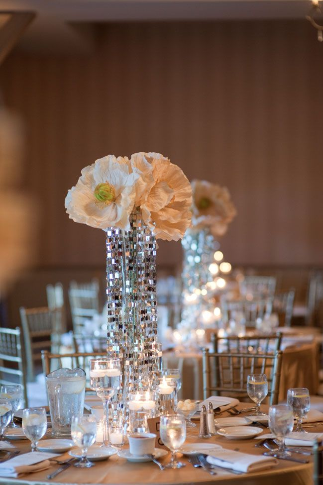 Gorgeous tall centerpieces with mirror curtains tumbling