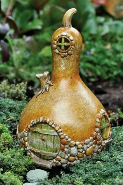 Fairy house made out of a gourd