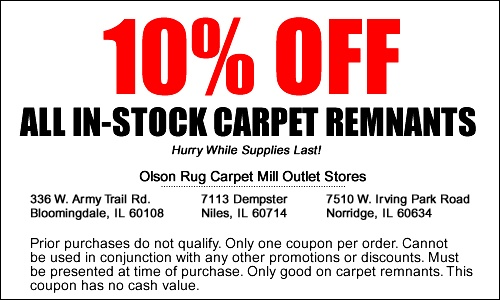 Olson Rug Remnant Coupon.  Even better is that it's near the Walter E. Smithe outlet and the big Homegoods!