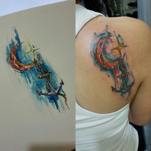 Tattoos By Eagershears On Pinterest: #tattoo #anchor #moon