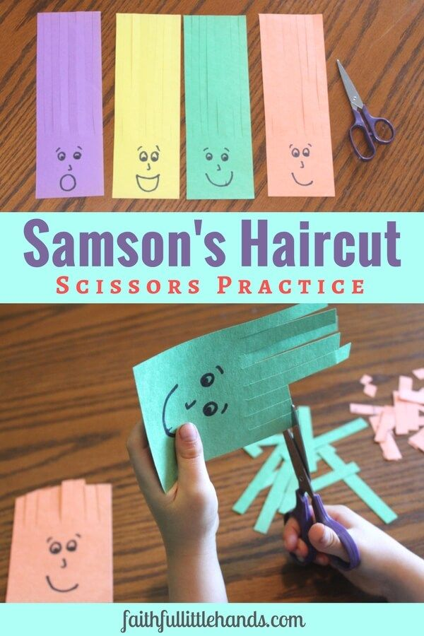 Scissors Practice: Samson Haircuts Activity – Toddler Bible Crafts