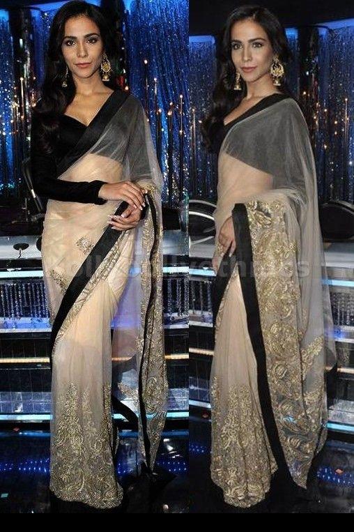 Bollywood Actress Humaima Malik Net Saree in Cream color