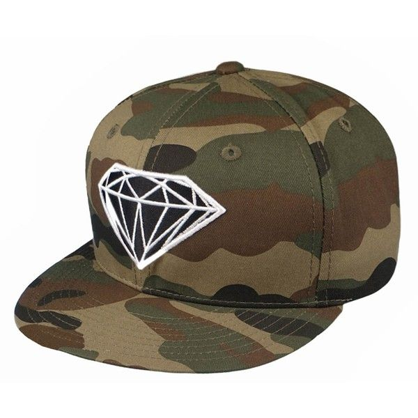 Camo Diamond Embroidered Flatbill Snapback (Camo) (£17) ❤ liked on Polyvore featuring accessories, hats, flat bill snapback, snapback hats, camouflage snapbacks, camo snapback hats and camouflage hats