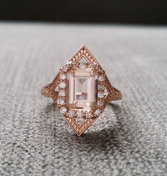 Awesome Morganite Diamond Engagement Ring Geometric Victorian Halo Egyptian Bohemian Peach Pink Antique Emerald Art Deco Rose Gold The Judith