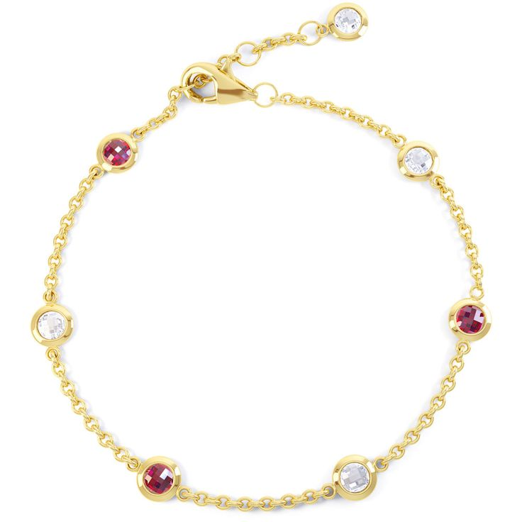 Buy Sapphire by the Yard Bracelet 18ct Gold Vermeil with Ruby, B74495 - £100 from Jian London. Free Delivery on all orders.