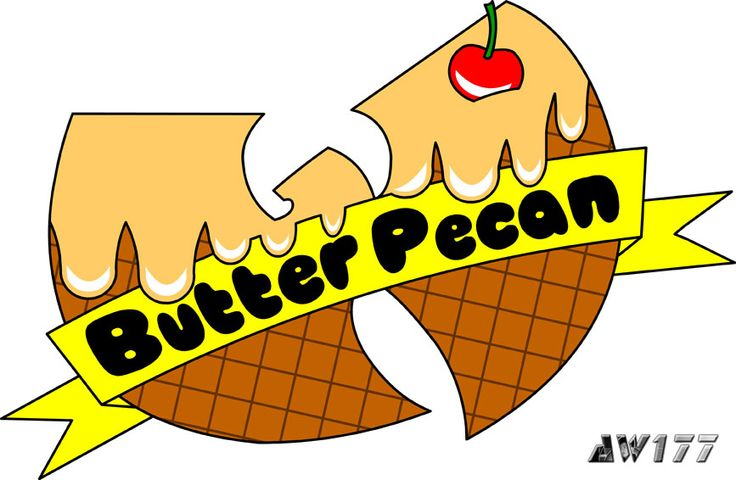 """Butter Pecan"" - a redesign of the infamous ice cream logo from the song, ""Ice Cream"" for hip-hop star, Ghostface Killah. It was a great honor and pleasure for me when I was asked to redesign the ice cream logos for Ghostface Killah, a member of the Wu. If you have not heard the song before, go to YouTube and search ""Wu-Tang Ice Cream"".  The logos are printed onto t-shirts for women and sold on GFK's official merchandise store."