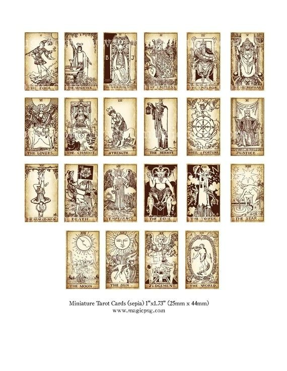 Printable miniature tarot cards for Professor Trewlawney's Divination classroom