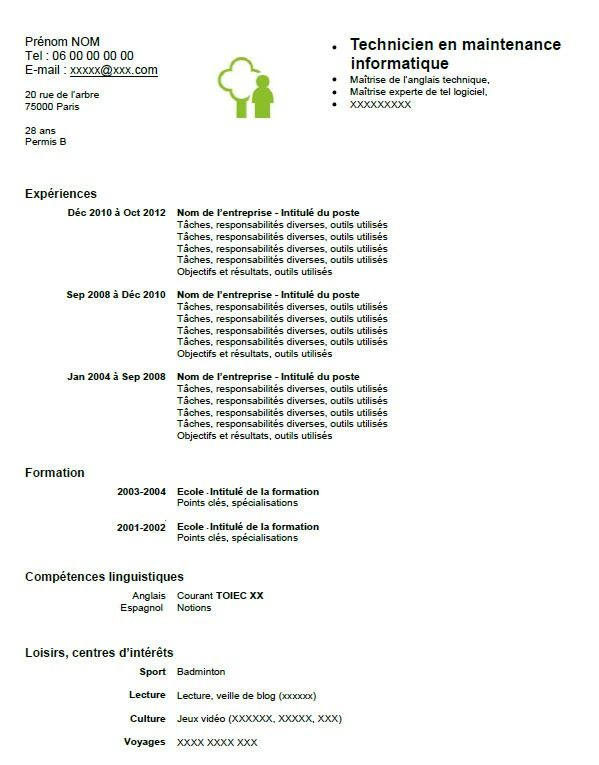 Exemple Cv Technicien Maintenance Informatique Cv Anonyme Maintenance Informatique Technicien Maintenance Exemple Cv