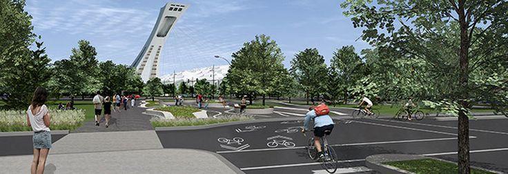 Réaménagement de l'intersection Pie IX-Sherbrooke par la Ville de Montréal et Atelier Urban Soland, Montréal, Québec.  Image : Ville de Montréal. Source : Ville de Montréal.