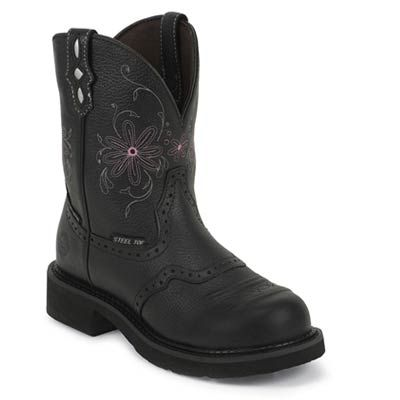 Justin Gypsy Women's Black Round Steel Toe Cowboy Boots