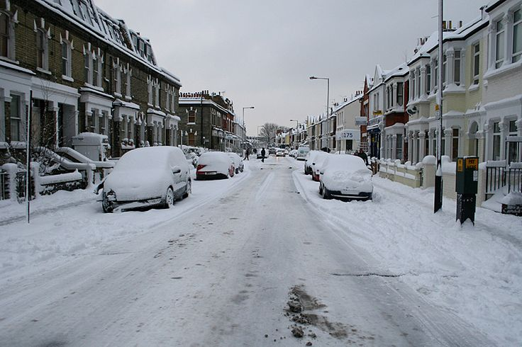 Snow in Fulham, South West London