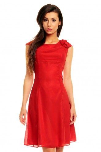 Sukienka z szyfonu z kwiatkiem Km87-1 na wesele czerowna