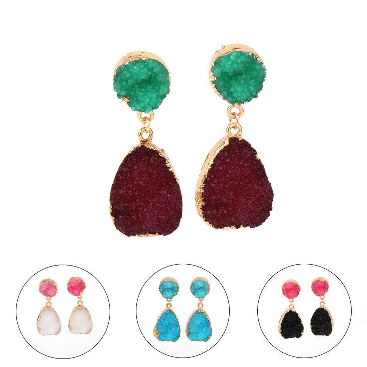 1Pair European Female Piercing Earings For Women Jewelry Gift Gold Plated Handmade Druzy Drusy Resin Stud Earings Earstud