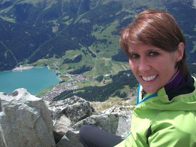 Auf der Klopair Spitze mit Sicht auf Reschen am Reschensee. Die Spitze markiert auch die nördliche Grenze zu Österreich/Italien.