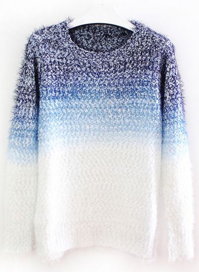 Blue Gradients Long Sleeve Mohair Loose Sweater pictures
