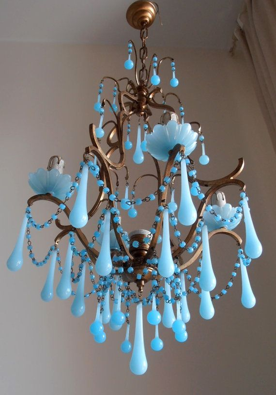 Authentic vintage Italian brass gilded aqua blue opaline birdcage crystal chandelier, Murano glass crystals, Macaroni beads