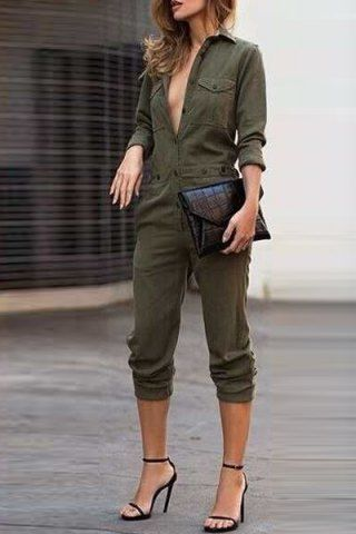 Stylish Shirt Collar Long Sleeves Single-Breasted Jumpsuit For Women Jumpsuits & Rompers | RoseGal.com Mobile