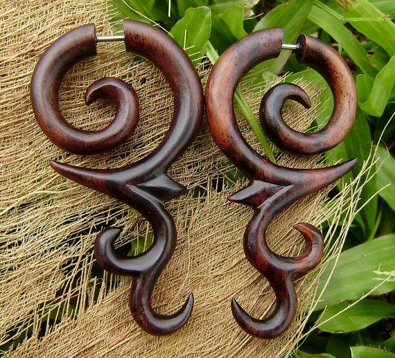 fake gauge earrings Hand Craved Natural Sono Wood Split Gauge Earrings Sprial tribal fake piercings on Etsy, $17.00
