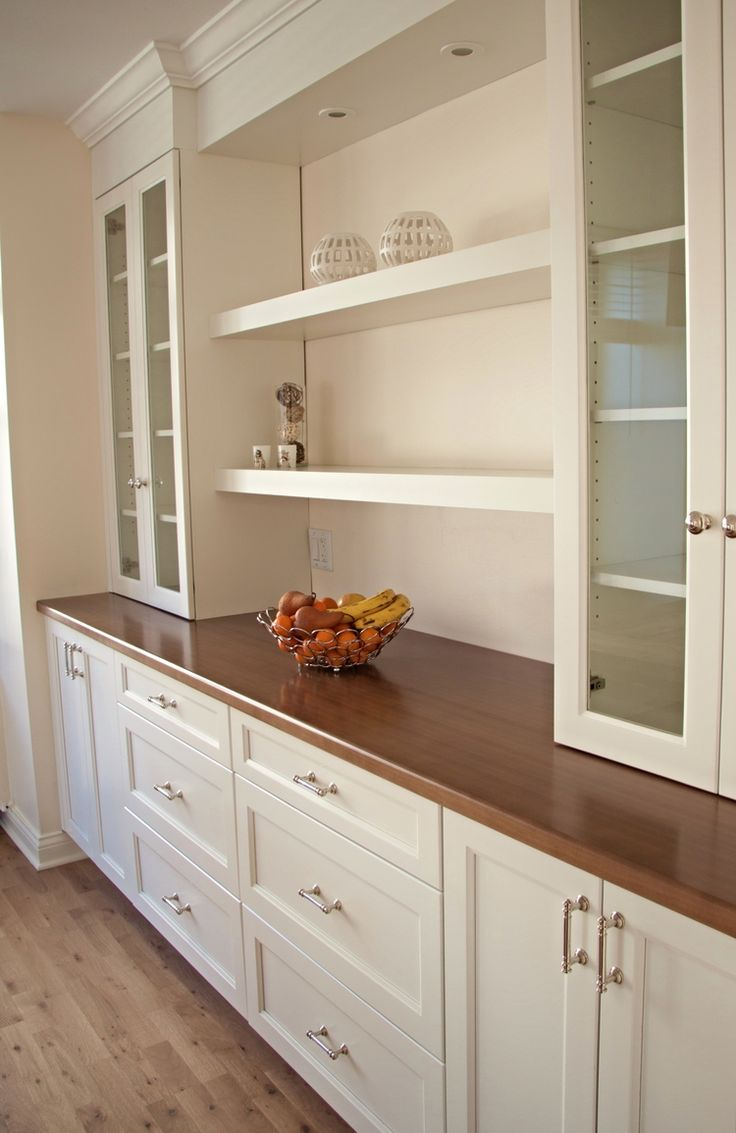 Remove current dining room built ins and add this to the end of the dining room - all base cabinets are drawers no doors