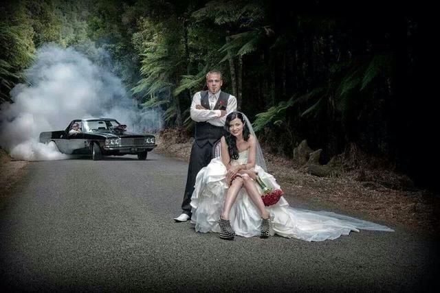 Wedding car burnout photo grooms dream