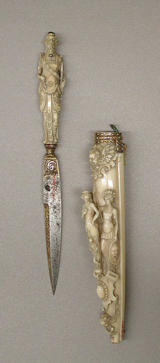 Date: early 19th century  Culture: French (Dieppe)  Medium: Ivory, ruby, diamond, steel (gilt), and enamelled gold  Dimensions:  L. 9 7/8 in (25.1 cm)  Credit Line: Gift of J. Pierpont Morgan, 1917