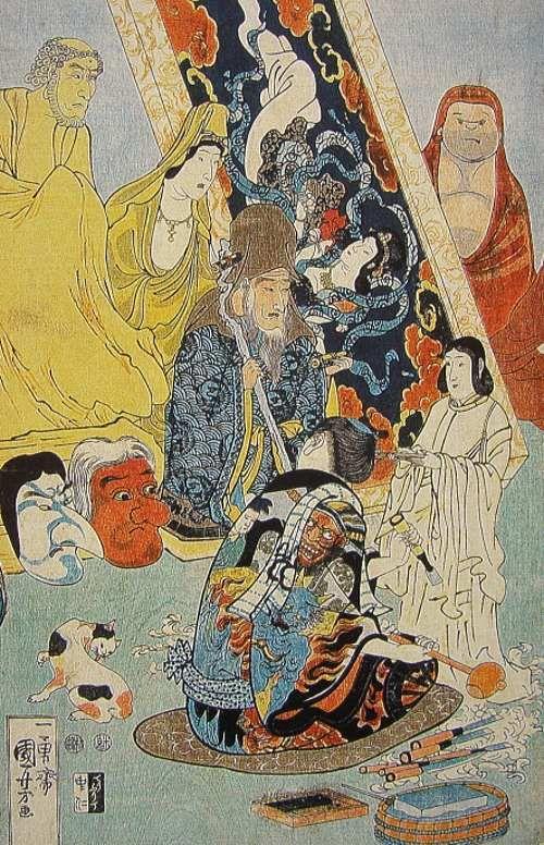 歌川国芳の浮世絵「名誉右に無敵左リ甚五郎」の実物写真
