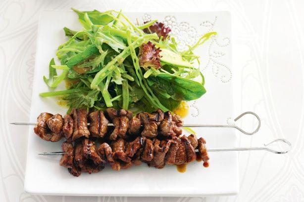 Teriyaki beef skewers with snow pea salad main image